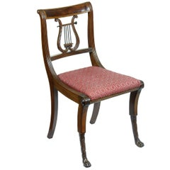 Mahogany Classical Lyre Side Chair, Duncan Phyfe, New York, circa 1815