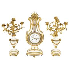 Antique Louis XVI Style Lyre Clock Set