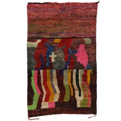 Contemporary Berber Moroccan Rehamna Rug with Postmodern Expressionist Style