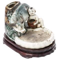 Porcelain Ink Stone on Wooden Base