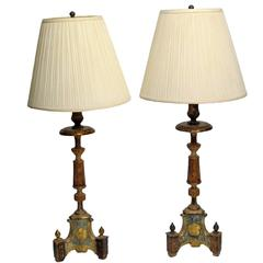 18th Century Italian Candlestick Lamps