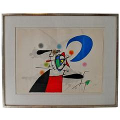 Mid-Century Modern Joan Miro Signed Numbered La Megere Et La Lune 22/50 1973 COA
