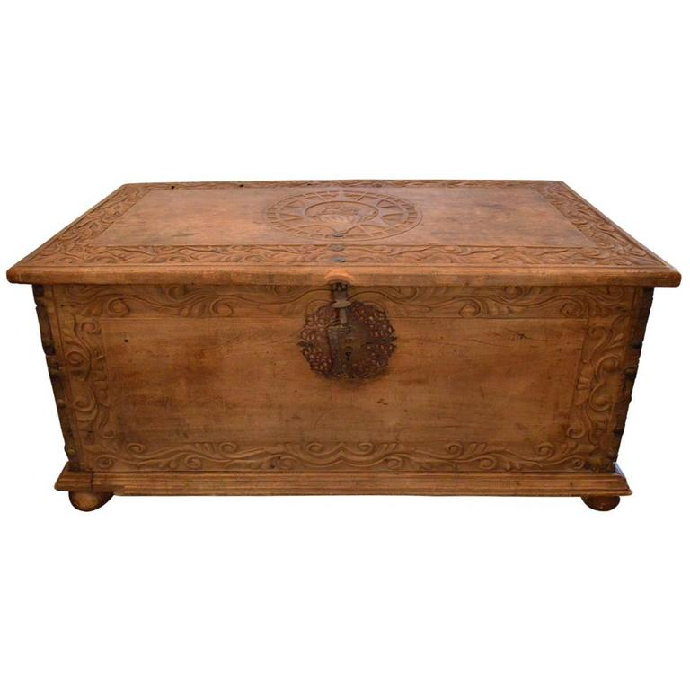 Large Antique 17th Century European Hand Carved Wood Trunk/ Hope Chest 1