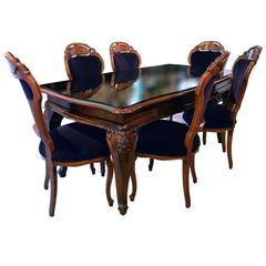 Vintage Italian Dining Set Including Table and Six Chairs, Sideboard and Mirror