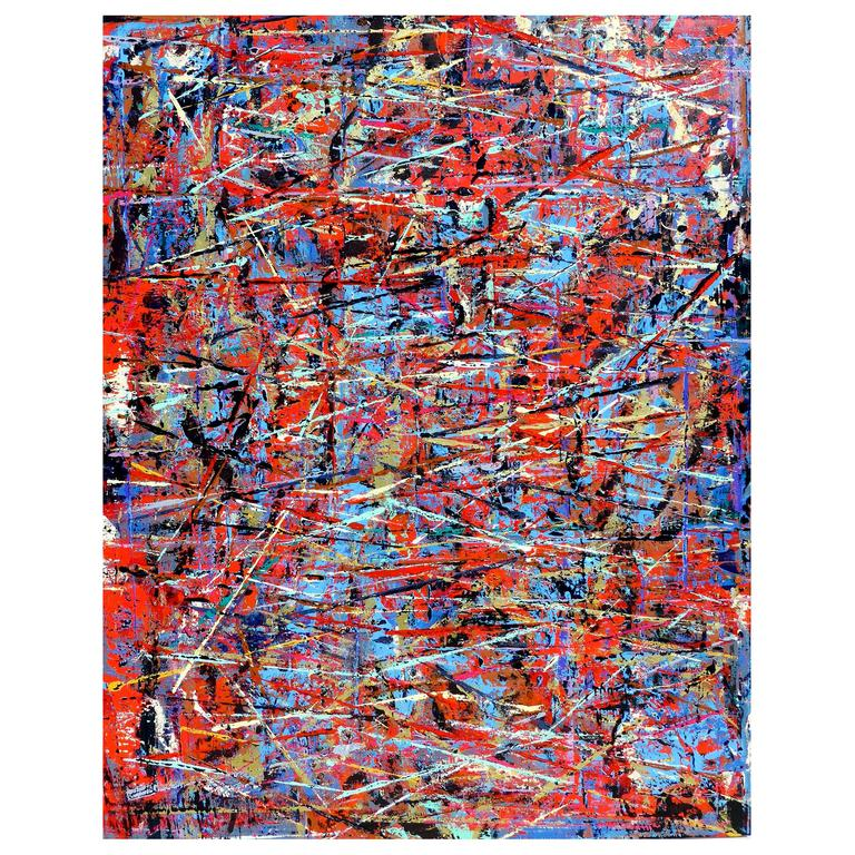Colorful and Heavily Layered Abstract Painting by Artist Aaron Finkbiner
