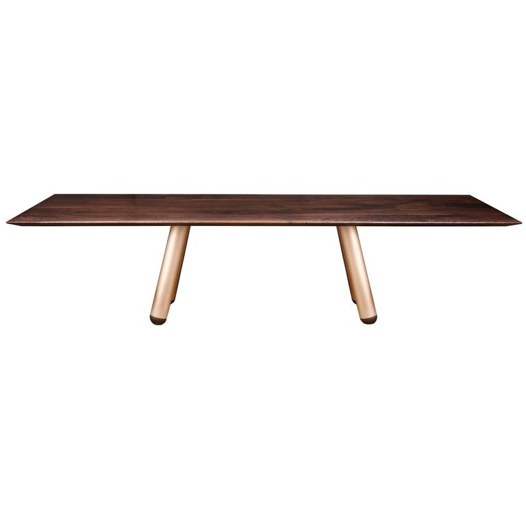 """Forum"" Dining Table in Walnut and Bronze by Studio Roeper"
