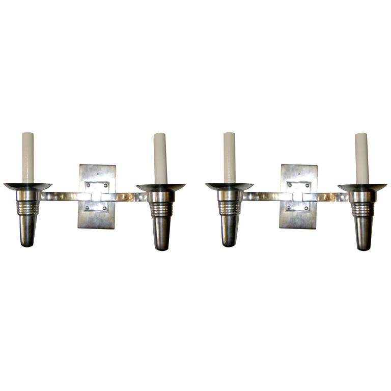 Set of Eight Moderne Silver Plated Sconces