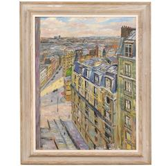 Mid Sized Oil Painting of a Charming Parisian Street Mounted in Wood Frame
