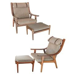 Hans Wegner Armchairs and Ottomans