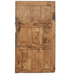 Single 19th Century European Rustic Wood Door with Delicate Carved Pattern