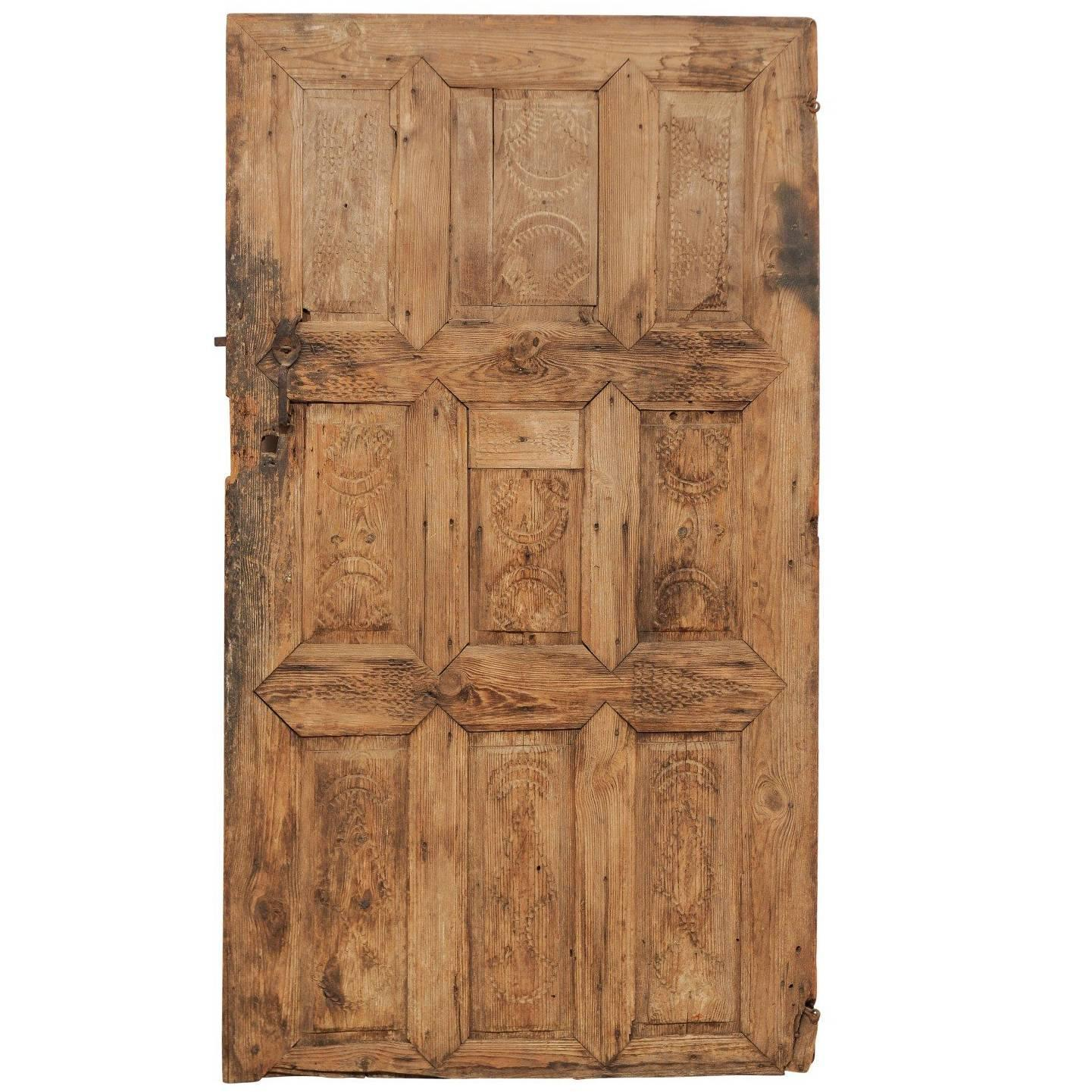 Single 19th Century European Rustic Wood Door with Delicate Carved Pattern - Antique And Vintage Doors And Gates - 1,296 For Sale At 1stdibs