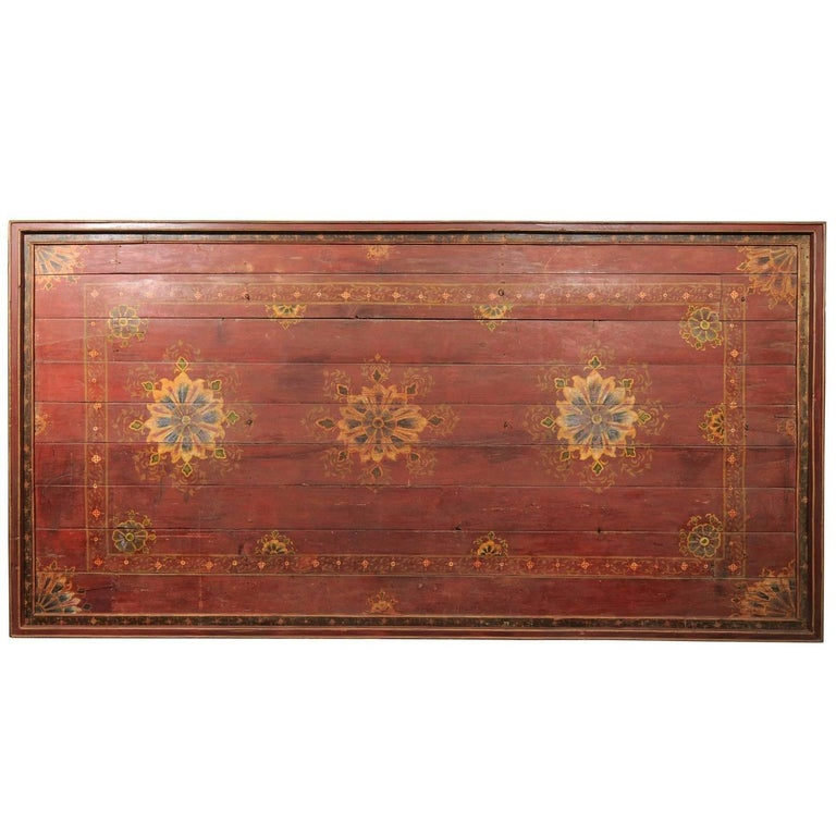 A Grand-Sized 19th C. Beautifully Painted Ceiling Panel from South India For Sale