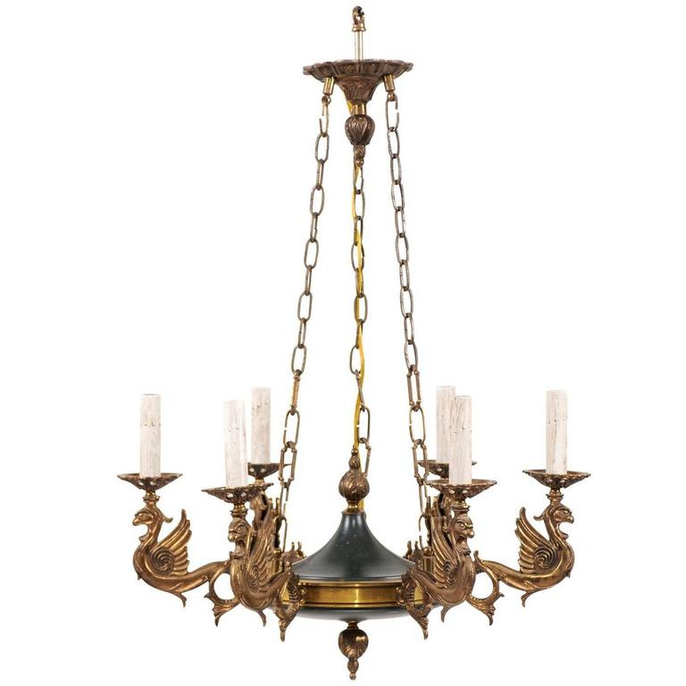 Ornate Iron Ring Chandelier: French Small Chandelier Ornate With Mythical Griffins Of