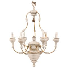 Italian Light Colored Painted Wood and Metal Chandelier with Gold Accents