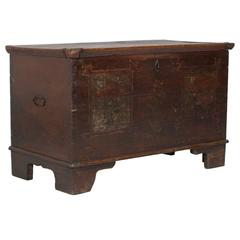 18th Century Antique Hand-Painted Tyrolean Chest Trunk in Solid Larch