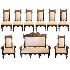 Antique Walnut Parcel-Gilt Gothic Style Hand-Carved Parlor/Dining Room Set