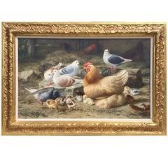 """""""The Gathering in the Barnyard"""" by Eugene Remy Maes"""