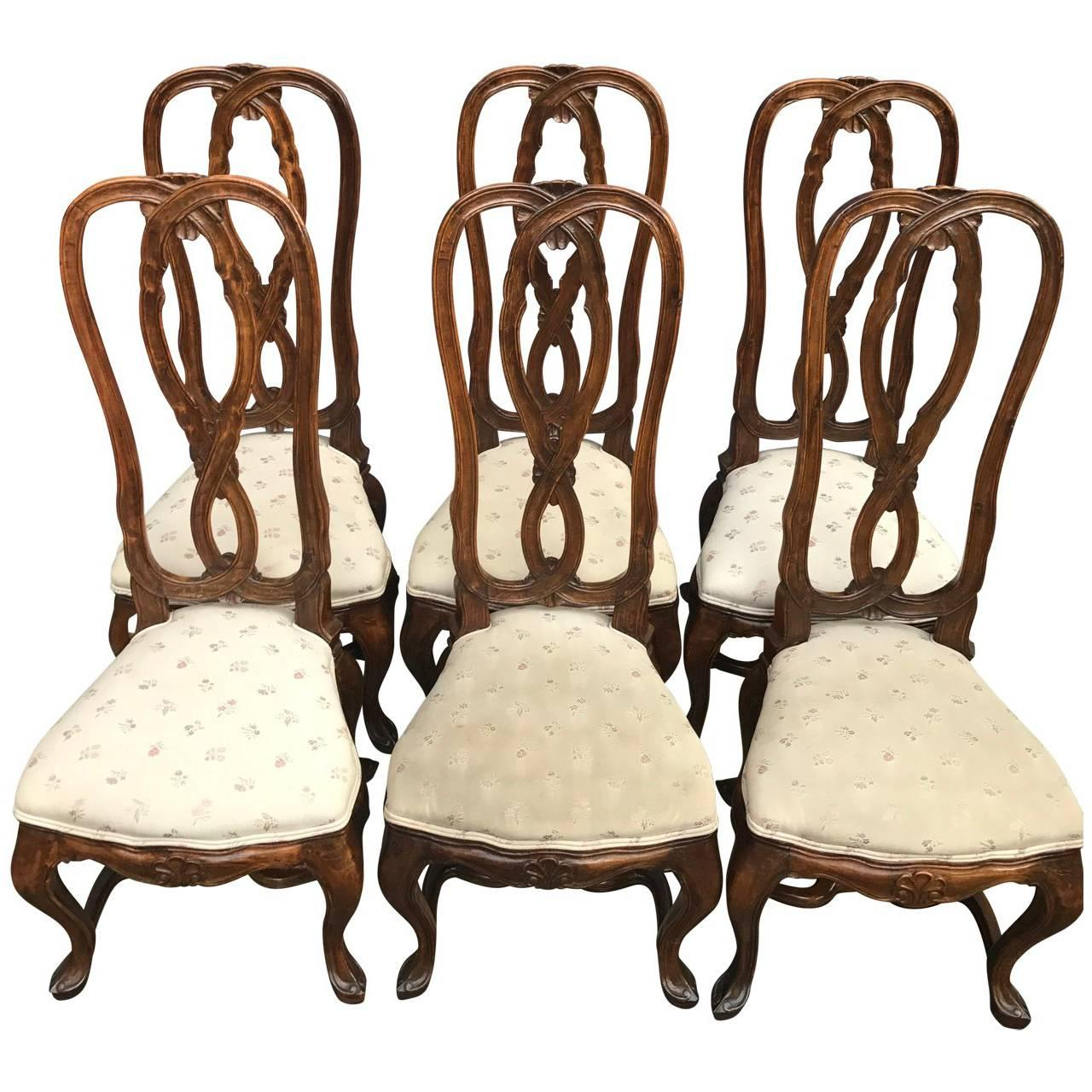 Set Of Six Rococo Style Dining Room Chairs