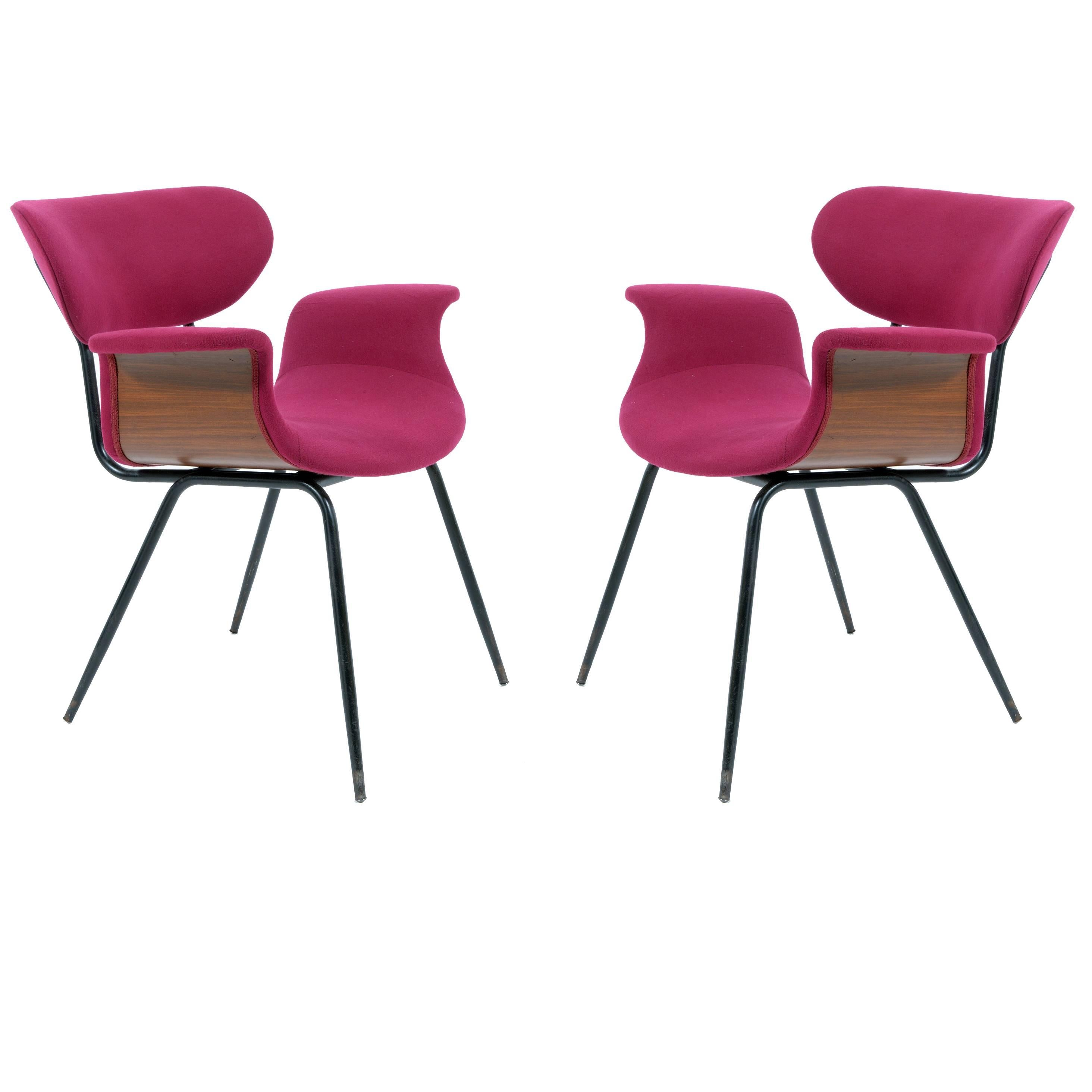 Pair of Mid-Century Italian Curved Plywood Armchairs