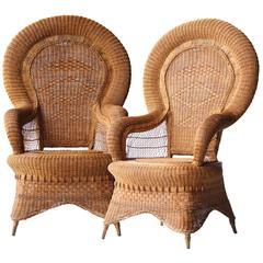 Natural Fiber Armchair Couple, France, 1960