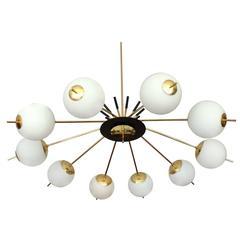 Stunning Large Stilnovo Style Brass Glass Chandelier, 1950s Modernist Italian