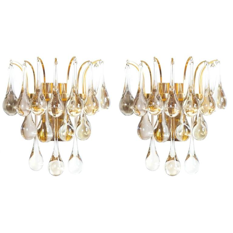 Multiple Palwa Murano Glass Tear Drop Sconces Wall Lamps Gold Brass, 1960