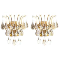 Delicate Pair of Murano Glass Tear Drop Sconces with Gilt Brass