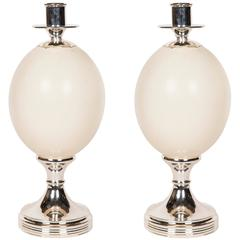 Anthony Redmile African Black Ostrich Egg Candlesticks