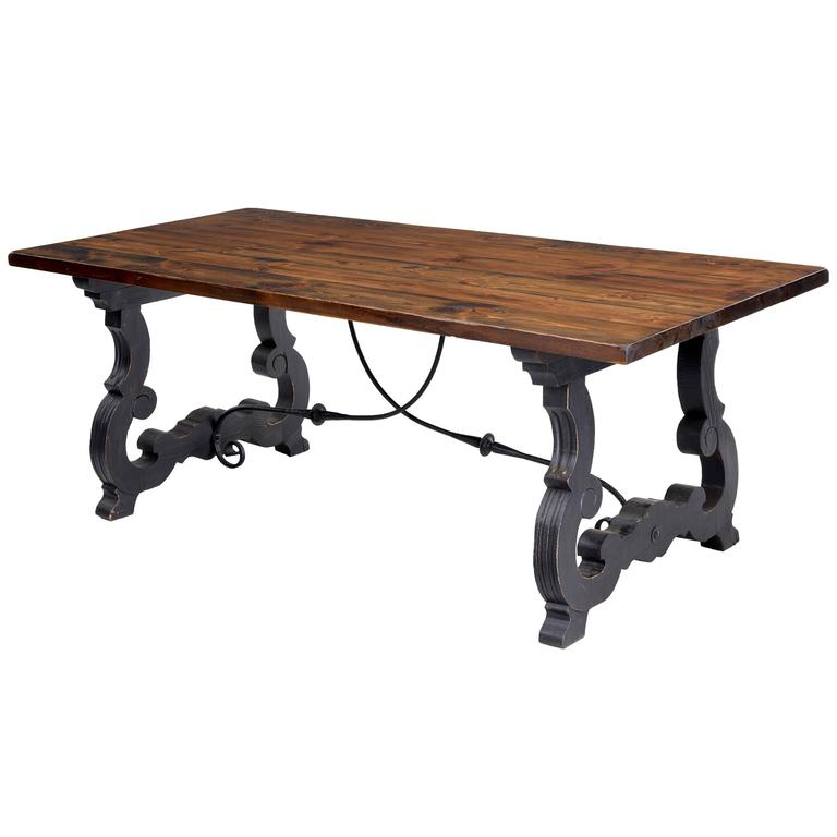 Spanish Style Dining Room Furniture: 1960s Large Spanish Influenced Pine Dining Table For Sale