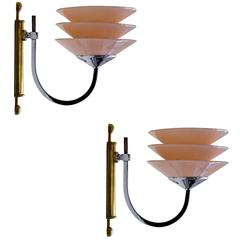 Rare Machine Age Art Deco Pair of English Wall Light Sconces