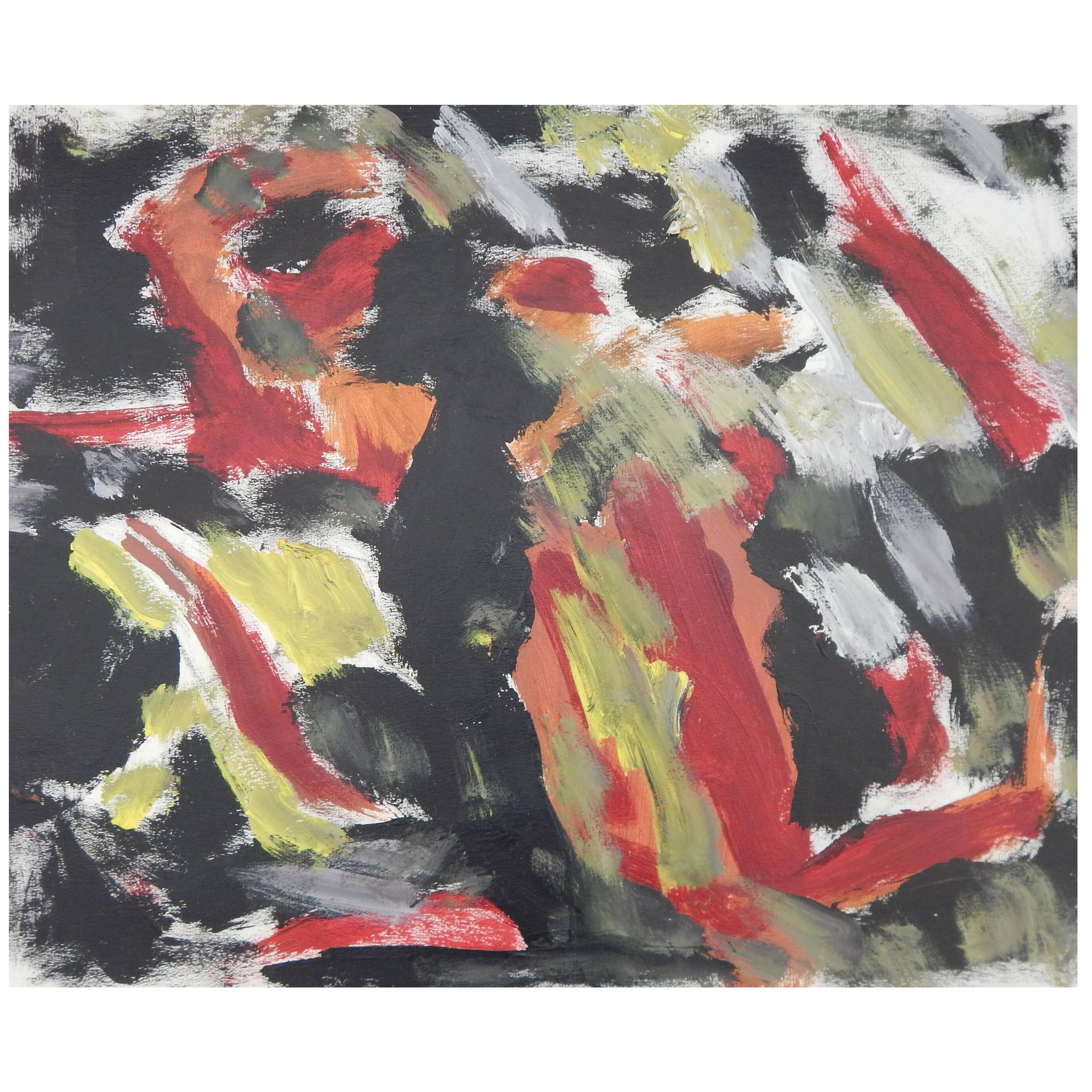 Harold Christopher Davies Abstract Expressionist Oil on Paper, 1968