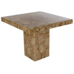 Hollywood Regency Onyx Specimen Card or Square Dining Table, Mid-Century Modern