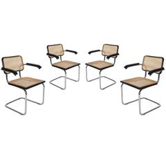 Mid-Century Modern Set of Four Marcel Breuer Cesca Cane Armchair Dining Chairs