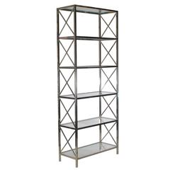 Mid-Century Modern Tall Chrome-X Brace and Glass Etagere, Hollywood Regency