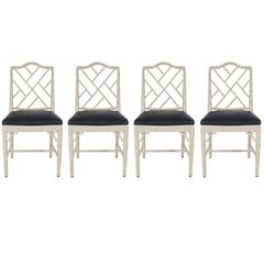 Chinese Chippendale Faux Bamboo Grey and Black Dining Chairs, Hollywood Regency