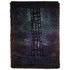 Fine, Early and Rare Ritva Puotila Helsinki Finland Hanging Tapestry or rya Rug