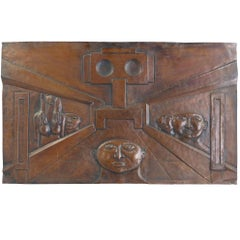 Copper Wall Panel by Belgian Artist Dries Putte, 1970 Octave Landuyt