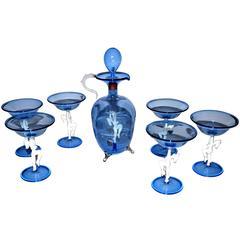 Art Deco Blue Glass Erotic Decanter Set by Bimini