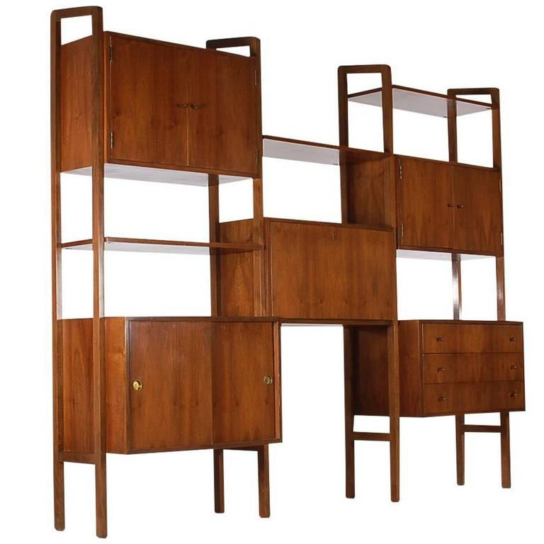 Mid Century Danish Modern Shelving Wall Unit Desk In Walnut After Poul Cadoviu For