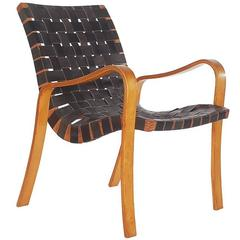 Mid-Century Modern Black Leather Lounge Chair after Bruno Mathsson or Thonet