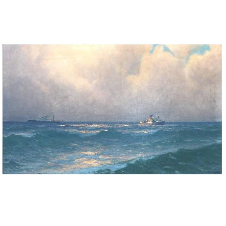 Freighters on the Open Ocean by Henk Dekker For Sale