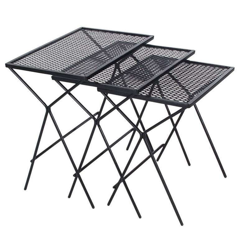 Mid-Century Modern Salterini Tempestini Wrought Iron Nesting Patio Side Tables