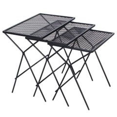 Mid-Century Modern Salterini Tempestini Wrought Iron Nesting Patio Side Tables