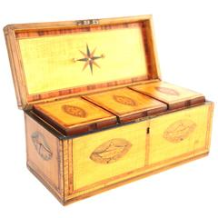 18th Century Satinwood Tea Caddy with Oval Inlaid Panels