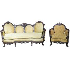 R.J. Horner Style Carved Walnut Settee and Bergere