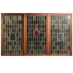 Large German Stained Lead Glass Windows
