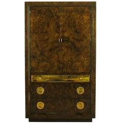 Mastercraft Burl and Acid Etched Brass Wardrobe Cabinet