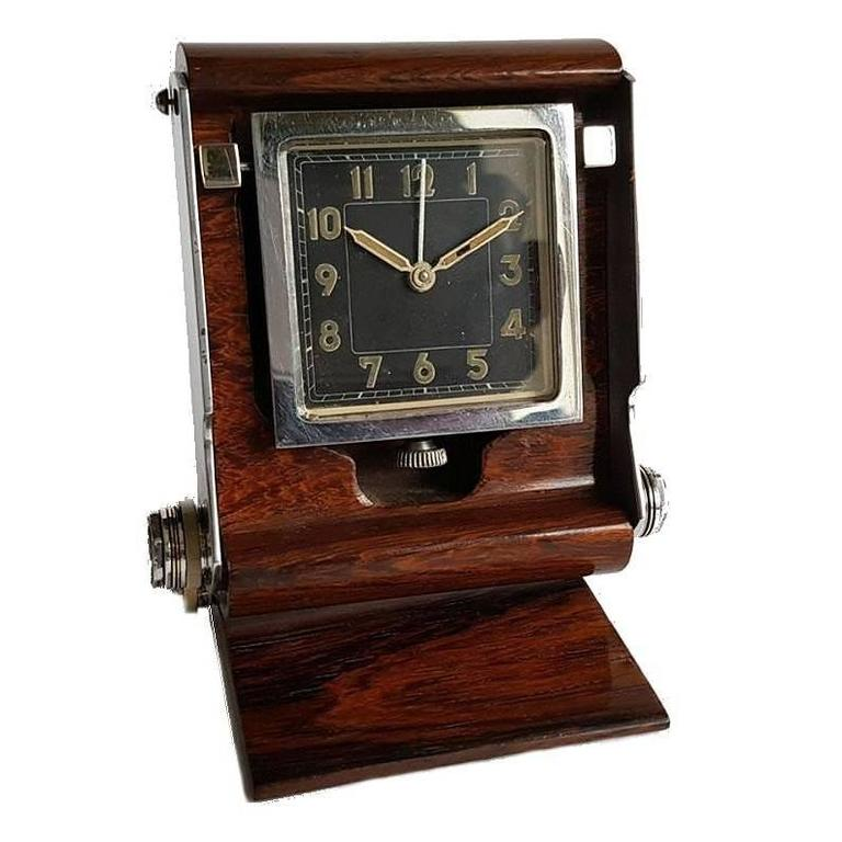 Art deco stylish uti streamline travel clock in a rosewood case for sale