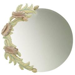 Phyllis Morris Carved Ivory and Lavender Poppies Round Mirror