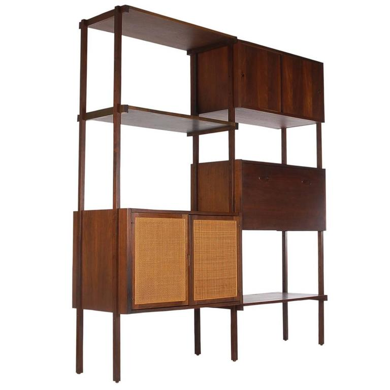 Mid Century Modern Danish Style Wall Unit Or Book Shelf In Walnut And Cane  For